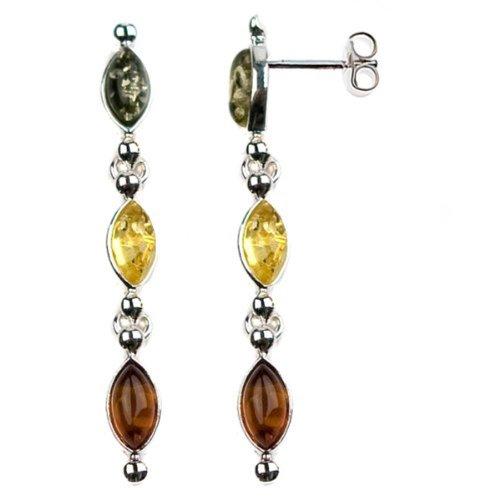 Multicolor Amber Sterling Silver Long Earrings ()