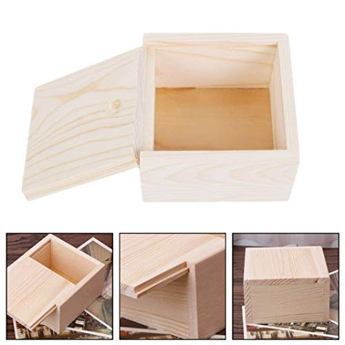 Guoshang Wooden Unfinished Storage Box with Slide Top-Square Box