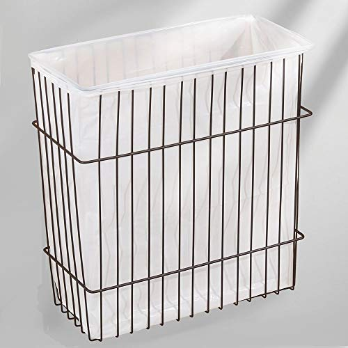 mDesign Wall Mount Kitchen Storage Organizer Basket Bin/Trash Can - for Pantries and Kitchen Cabinet Doors - Hardware Included, Solid Steel Wire with Bronze Finish