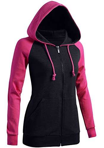 CLOVERY Women's Raglan Design Long Sleeve Hoodie PINK US M / Tag M