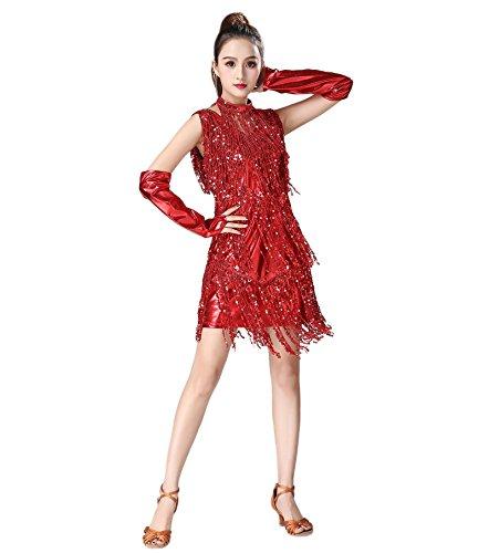 Da Vestito Rosso Rumba Paillettes Prestazioni Nappa Donne `s Usura Astage Sexy Delle Latino Ballo Samba xaq4WXw