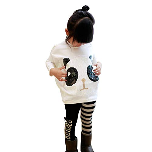 (chinatera 2Pcs Kids Little Girls Cartoon Outfits Panda Coat Top + Striped)