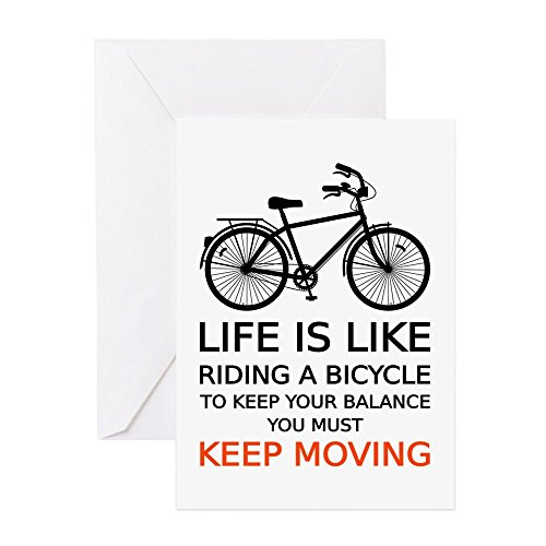 Bicycle Birthday Card (CafePress - Life Is Like Riding A Bicycle, Word Art, Text Gree - Greeting Card, Note Card, Birthday Card, Blank Inside Glossy)