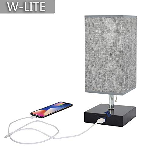 - W-LITE Grey USB LED Wooden Bedside Table Lamp,Modern Desk Lamp,Square Nightstand Light with Comfortable Lighting and USB Port Good for Bedroom,Living Room,College Dorm, Coffee Table