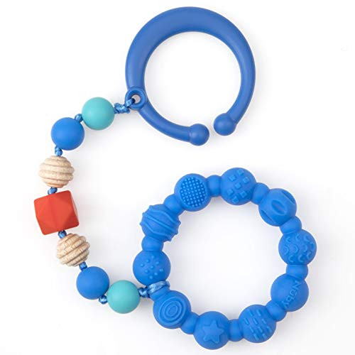 Nuby 100% Silicone Teether Ring with Silicone Beaded String and Clip for Carseat and Stroller, 3 Months +, Colors May Vary