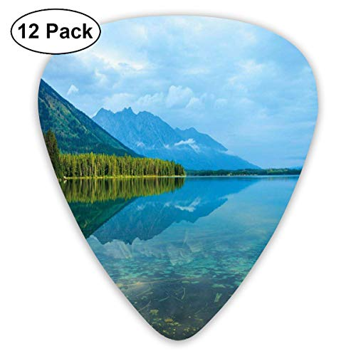 (Celluloid Guitar Picks - 12 Pack,Abstract Art Colorful Designs,Leigh Lake Landscape With Amazing Sky And Reflections On Calm Water,For Bass Electric & Acoustic Guitars.)