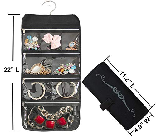 Black MISSLO 8 Zippered Pockets Travel Jewelry Roll up Organizer with Rotatable Hanger
