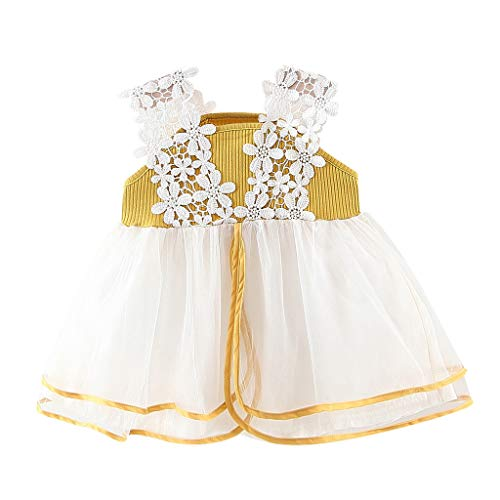 by Girl Dresses  Fashion Children Kids Ruched Patchwork Lace Tulle Sling Skirt Party Princess Dresses Yellow ()
