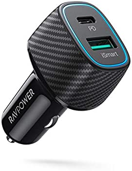 RAVPower 48W 2-Port Type C Car Adapter with 30W Power Delivery