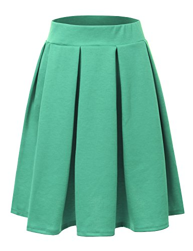 Doublju Elastic Waist Flare Pleated Skater Midi Skirt for Women with Plus Size Mint ()