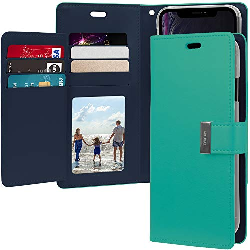 (iPhone XR Case [Drop Protection] Goospery Rich Diary [ID/Card & Cash Slots] Premium PU Leather Wallet Case [Magnetic Closure] Folio Style Flip Cover for Apple iPhone XR (Mint))