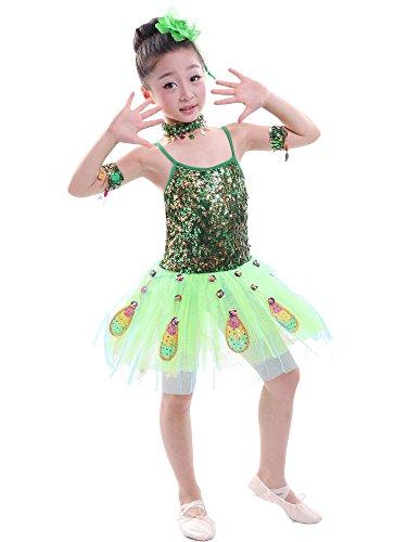 ZEVONDA Girls Sequin Dance Costumes Tutu Skirt Peacock Dance Sleeveless Dress Dance Wear, Green, US 120=Tag130 ()