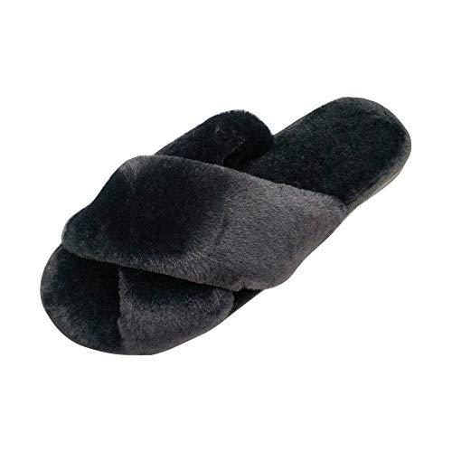 HRFEER Women Slippers Winter Warm Rabbit's Hair Cross Band Solid Ladies Cozy Cotton Slipper -