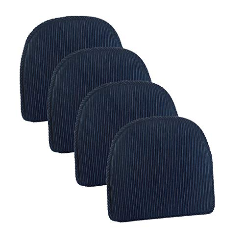 Klear Vu Nakita Striped Non-Slip Dining Kitchen Chair Pads, 15″ x 16″, Set of 4 Cushions, Navy
