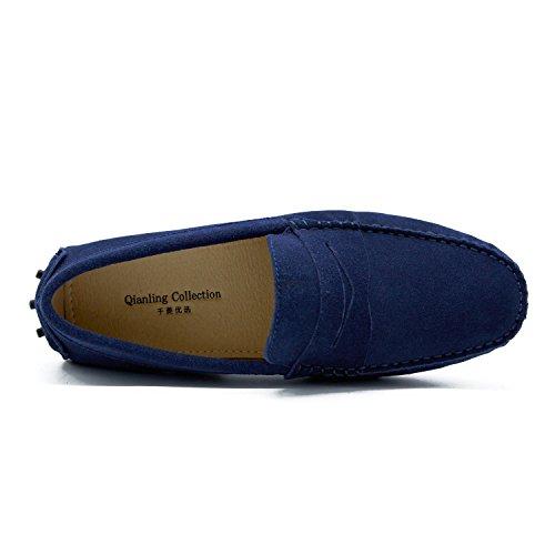 Loafers Men's Dark 5 US9 Ons Suede Flats Turn Blue Slip qEwO00dz