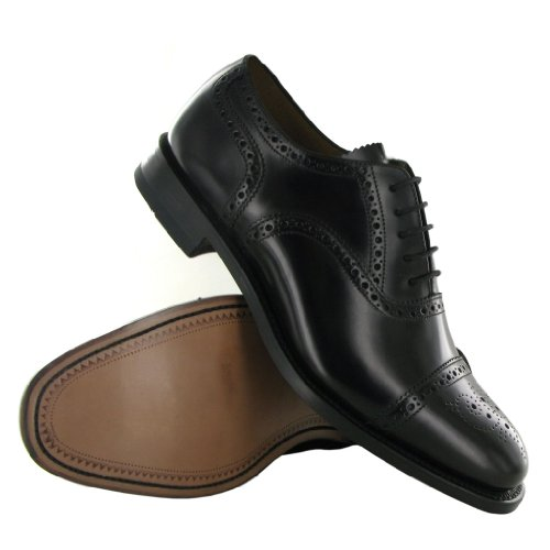 Mens 201B Shoes Brogue Semi Black Leather Loake qOSRzwS
