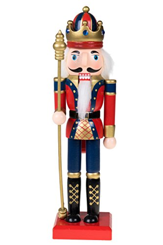 Clever Creations Traditional Wooden King Nutcracker with Crown Festive Christmas Decor | 10