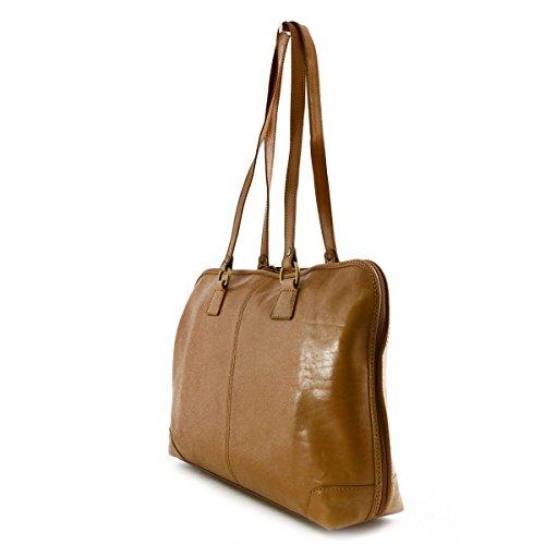Echtes Leder Aktentasche Für Damen 1 Fach Farbe Honig - Italienische Lederwaren - Aktentasche