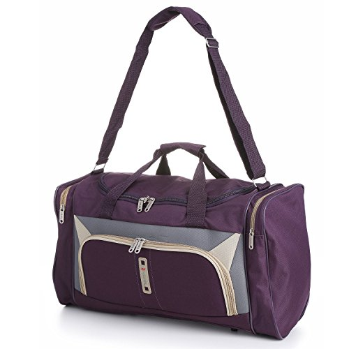 Cabin Sized Lightweight Small Luggage Carry on Holdall/Duffel Bag - Ideal for Weekend Trips and Overnight Stays. Large Sports/Gym Duffle Bag with Ripstop Material and Shoulder Strap. (Plum/Grey 612)