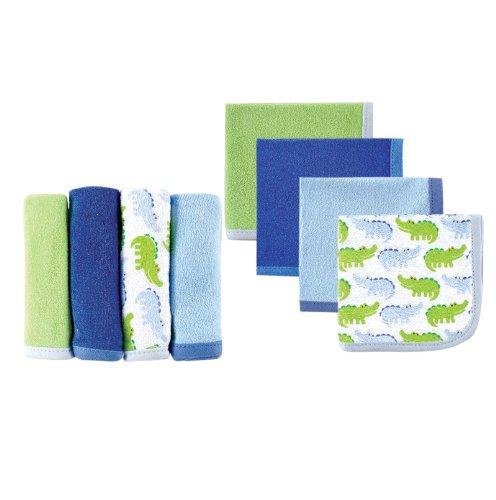 4 Pack Washcloths (Luvable Friends Washcloths, Blue Alligator, 4 Count)