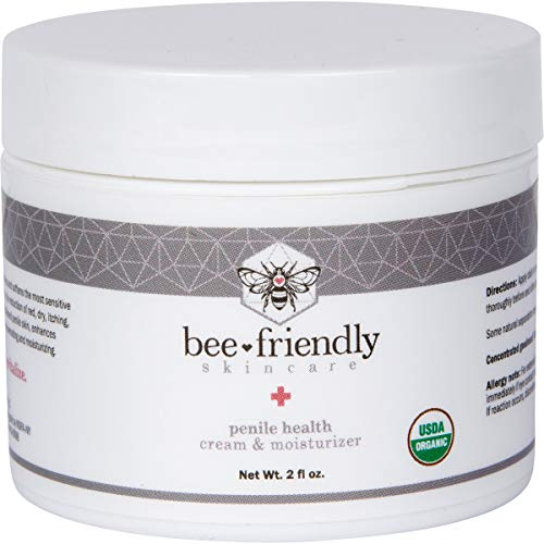 Organic Penile Health Cream by BeeFriendly, USDA Certified Natural Penis Cream Moisturizer Aids with Dry, Chafing, Scaly, Cracked, Red, Itchy & Irritated Skin, Enhances Sensitivity Naturally 2 oz (Best Way To Increase Penile Size Naturally)