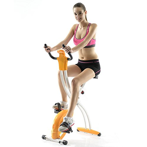Fitleader FX2 Indoor Teenager Exercise Bike Folding Cycling Stationary Cardio Upright Bike Gym Stable Frame Design