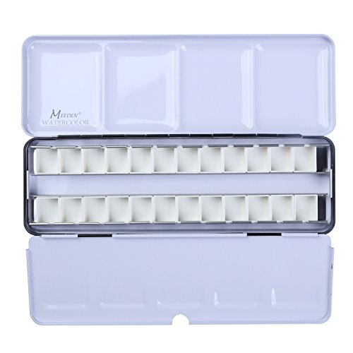 MEEDEN Empty Watercolor Tins Palette Paint Case with 24 Pcs Half Pans