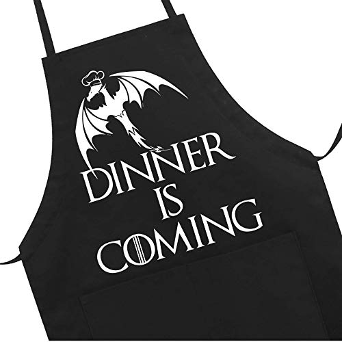 Grill Aprons Kitchen Funny Apron Chef Bib, Dinner is Coming Professional for BBQ Baking, Cooking for Men Women