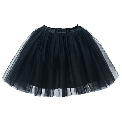 (PerfectDay Women's Mini Tutu Ballet Multi-Layer Ruffle Frilly Petticoat Skirt Black)