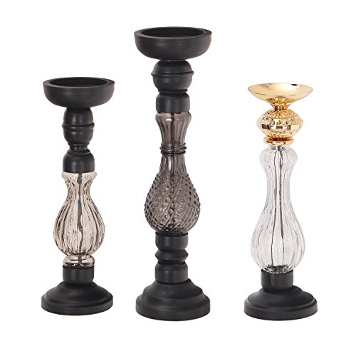 Glass Wood Candle - Asense Wood and Glass Pillar Candle Holders Coffee Table Decorative Centerpiece Candlesticks Set for Dining Table, Gifts For Thanksgiving, Votive Candle Gardens