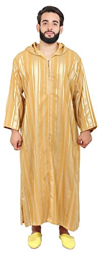 Moroccan Men Clothing Djellaba Handmade and Embroidered Breathable hooded X-large ()