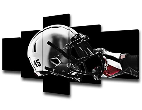 Black and White Wall Art The Ohio State Buckeyes Pictures for Living Room Football Helmet Paintings 5 Piece Canvas Modern Artwork Home Decorations Framed Gallery-Wrapped Ready to Hang(50''Wx24''H)