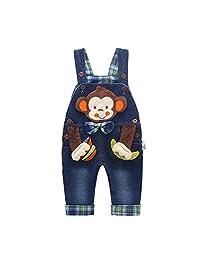 Kidscool Baby Cotton 3D Cartoon Monkey Buttons Bow Denim Overalls Blue