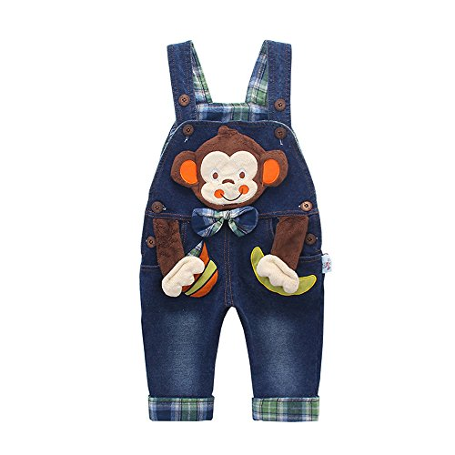 Kidscool Baby Cotton 3D Cartoon Monkey Buttons Pocket Denim Overalls Blue