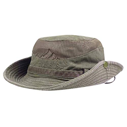 Sanyyanlsy Men Fisherman Hat Outdoor Visor Net Cap Hiking Hat Mesh Breathable Rivet Foldable Adjustable Wind Lanyard Hat Coffee