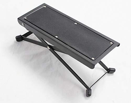 NUZAMAS Adjustable Guitar Footstool, Foldable, Height and Angle Adjustable, Heavy Duty Metal Made, Music Foot Stool with Anti-Slip Rubber Feet