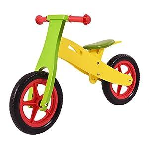 "12"" Multi-Color Wooden Balance Bike Classic No-PedalAdjustable Seat"