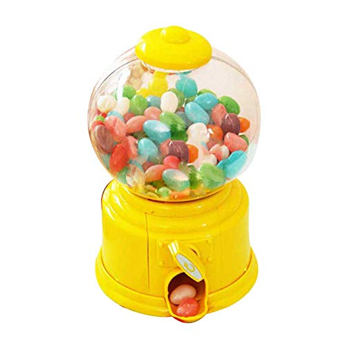 MGhome Cute Sweets Mini Candy Machine Bubble Gumball Dispenser Coin Bank Kids Toy Money Saving Box Baby Gift Toys (Yellow)