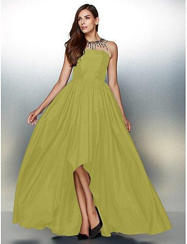 Con Daffodil Noche Prom amp;OB Cuello Tafetán De Línea De Crystal Formal Vestido De Detallando Una HY Asimétrica Joya UxT6fww