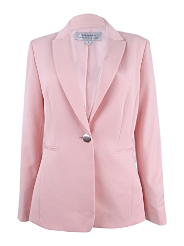 Collar Single Button Blazer (Tahari Women's Petite Single-Button Peak-Collar Blazer (16P, Pastel Pink))