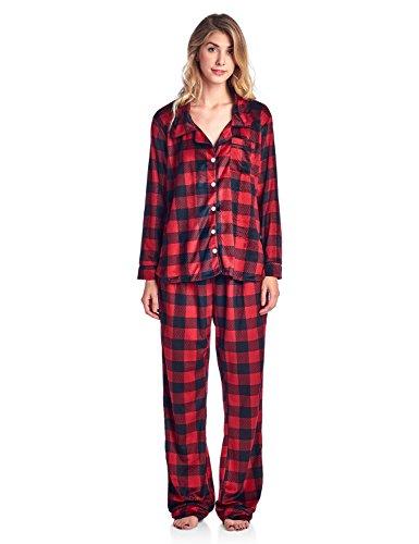 Check Fleece (Ashford & Brooks Women's Cozy Mink Fleece Pajama Set - Red Buffalo Check - Small)