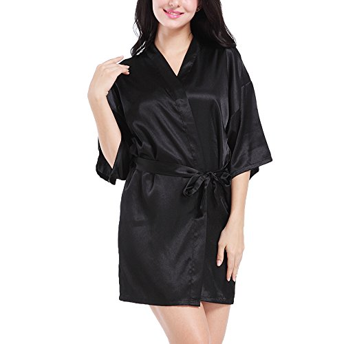 (AChili Women's 3/4 Sleeve Kimono Satin Robe Short Bathrobe Black Black XXL)
