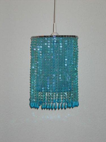 Dapo Trendiger Leuchtenschirm mit Kunststoff-Perlen und Organzastoff Starlet t/ürkis Schirm