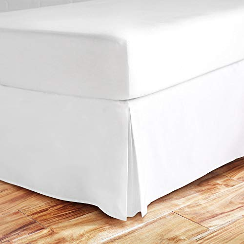 - Valencia Beddings Split Corner Bed Skirt 16 Inch Drop Queen Size 100% Natural Cotton Wrinkle and Fade Resistant Queen Size, White Solid