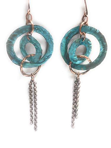 Waterfall Boho Blue Verdigris Patina Hoop Earrings Copper with Tassel Gift Ideas for Women ()