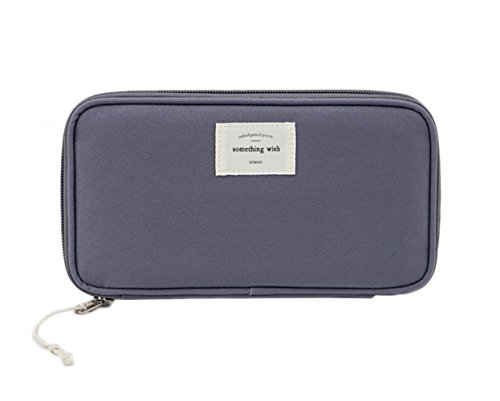 iSuperb Large Capacity Waterproof Oxford Pencil Case Stationery Pencil Pouch Bag Case Cosmetic Makeup Bag Passport Organizer Bag 8.5x4.5inch (Dark Gray) by iSuperb