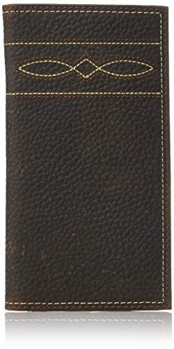 (Ariat Men's Wave and Diamond Stitch Rodeo Wallet, brown)