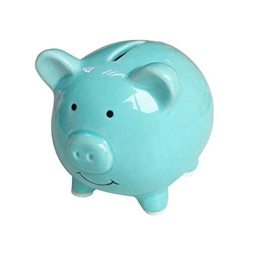 Lovollect Piggy Banks for Kids, Ceramic Material, Cute Pig for Decoration, Baby Nursery Gift, Length 3.7 inches (Blue)