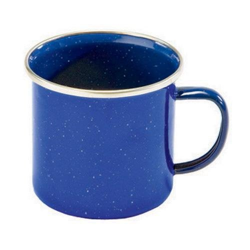 Texsport Enamel Coffee Cup Mug with Stainless Steel Rim, Blue
