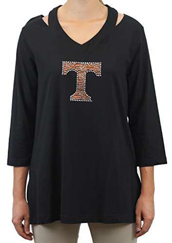 (Nitro USA NCAA Tennessee Volunteers Women's Cut Out Neck Tunic with Rhinestone Zebra Power, Large, Black)